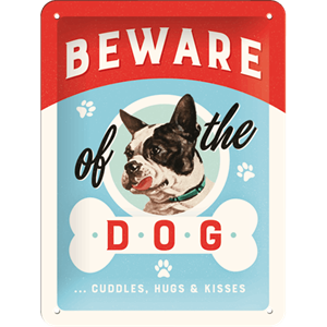 Retro Skilt 15x20cm - Beware of the dog