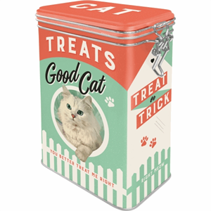 Retro bøtte med clip top - Treats Good Cat