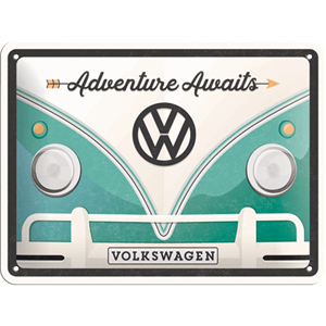 Retro Skilt 15x20cm - VW Bulli adventure awaits